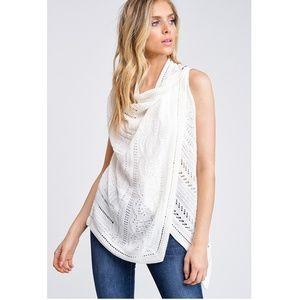 NWT Ivory Knit Boho Versatile Vest/Cardigan Top